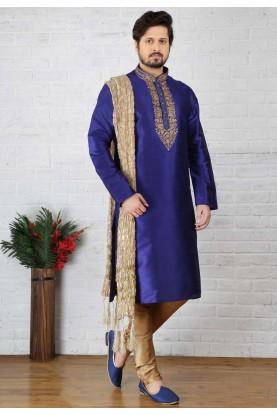 Blue Color Art Silk Readymade Kurta Pajama