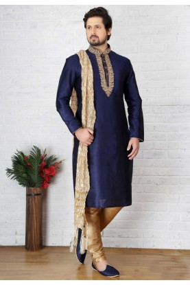 Blue Color Silk Kurta Pajama