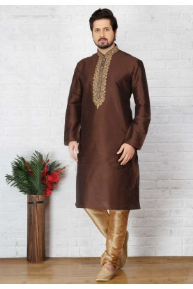 Exquisite Brown Color Art Silk Readymade Kurta For Mens