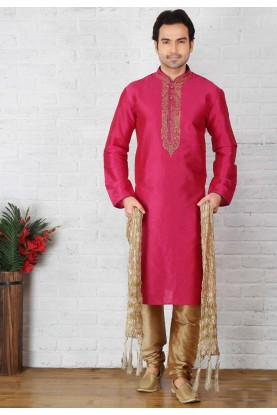 Pink Color Art Silk Readymade Kurta Pajama