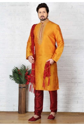 Attractive Orange Color Traditional Kurta Pyjama