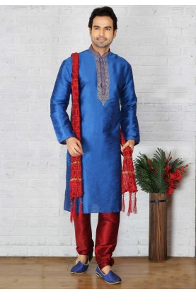 Blue Color Readymade Kurta Pajama