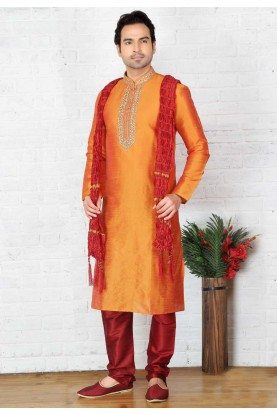 Orange Color Art Silk Readymade Kurta Pajama