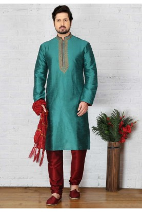 Men's Exquisite Green Color Art Silk Readymade Kurta Pajama