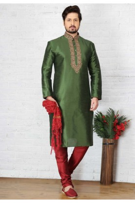Exquisite Green Color Art Silk Readymade Kurta Pajama