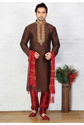 Brown Color Art Silk Readymade Kurta For Mens