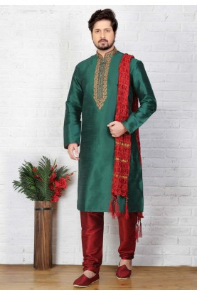 Green Color Readymade Kurta Pajama