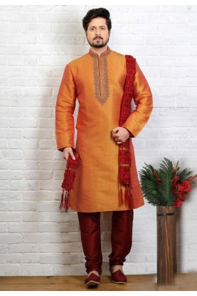 Orange Color Art Silk Traditional Kurta Pajama