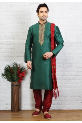 Green Color Art Silk Readymade Kurta Pajama