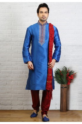 Blue Color Art Silk Party Wear Kurta Pajama