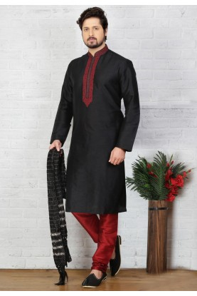 Black Color Art Silk Men's Readymade Kurta Pajama