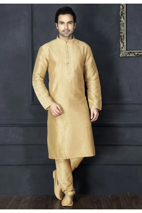 Exquisite Beige Color Art Silk Readymade Kurta For Mens