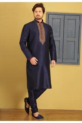 Blue Color Art Silk Readymade Kurta Pyjama