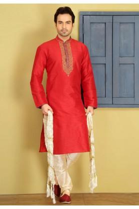 Exquisite Red Color Art Silk Readymade Kurta Pyjama