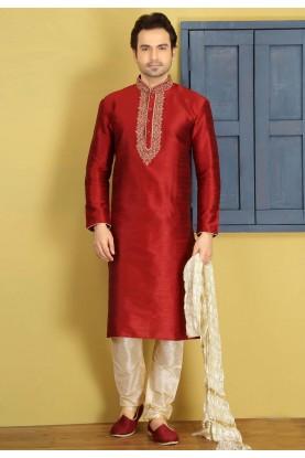 Maroon Color Art Silk Designer Kurta Pajama