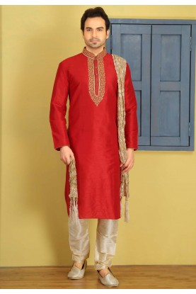 Exquisite Red Color Art Silk Fabric Readymade Kurta For Mens