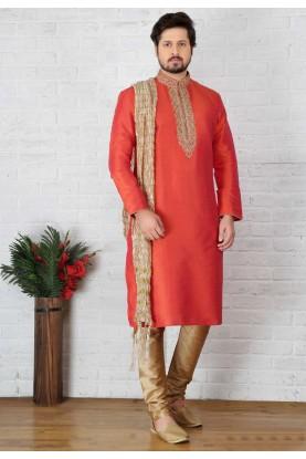 Men's Exquisite Raglan Sleeves Red Color Readymade Kurta Pajama.