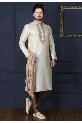 Off White Color Indian Wedding Kurta Pajama