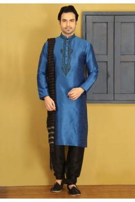Blue Color Art Silk Fabric Readymade Kurta Pajama