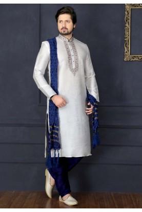 White Color Art Silk Fabric Readymade Kurta Pajama.