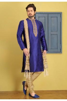 Exquisite Blue Color Art Silk Readymade Kurta Pajama.