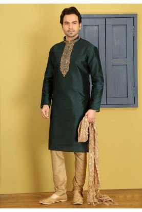 Green Color Art Silk Fabric Readymade Kurta Pyjama For Mens