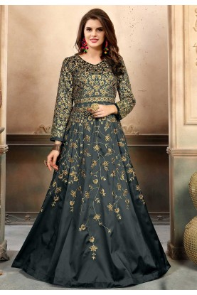 Grey Color Silk Fabric Anarkali Salwar Kameez