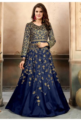 Navy Blue Color Party Wear Salwar Kameez