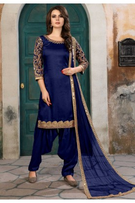 Nice Looking Navy Blue Color Party Wear Salwar Kameez