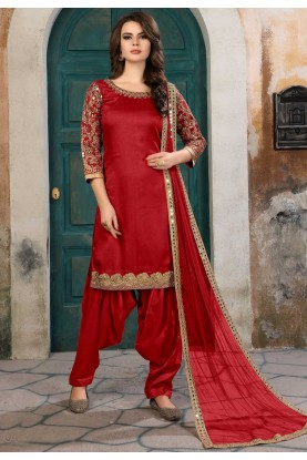 Red Color Art Silk Salwar Kameez