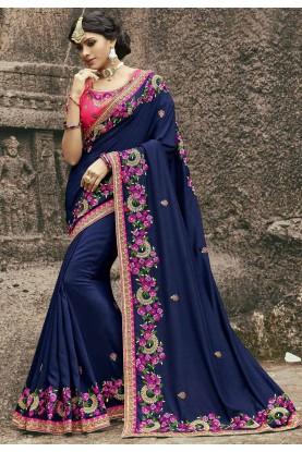 Attractive Looking Blue Color Designer Bridal saree