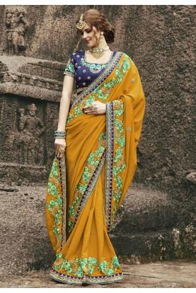 Beautiful Yellow Color Designer saree