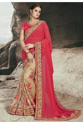 Red,Cream Color Embroidered Saree