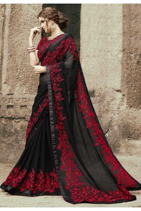 Black Color Georgette Party Wear Saree