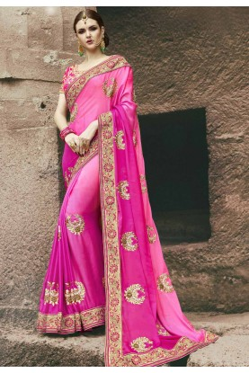 Beautiful Pink Color Embroidered Saree
