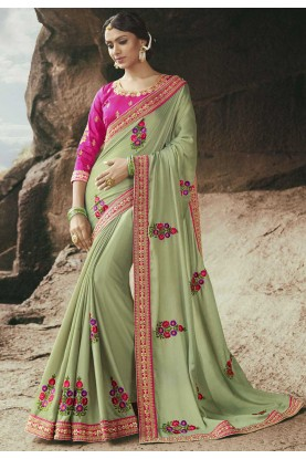 Green Color Georgette Fabric Indian Sari