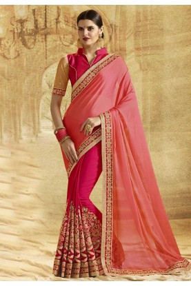 Peach Color Designer Bridal Saree