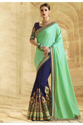 Blue,Green Color Party Wear Saree