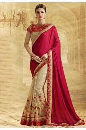 Beautiful Golden Color Chiffon Saree