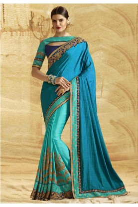 Attractive Looking Blue Color Chiffon Saree
