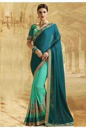 Nice Looking Green Color Designer Saree