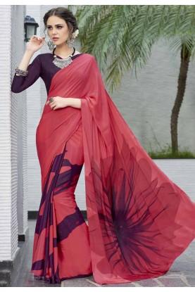 Gorgeous Red Crepe Silk Printed Saree