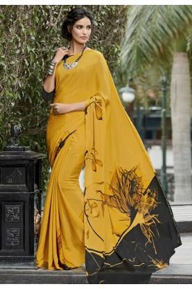 Yellow Crepe Silk Printed Saree