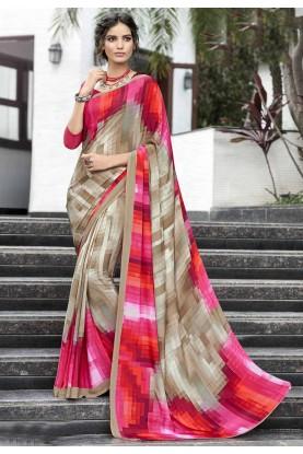 Brown-Pink Casual Printed Saree