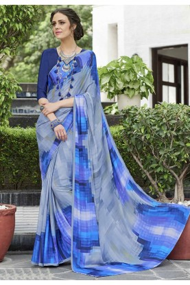 Blue-Grey Crepe Silk Printed Saree