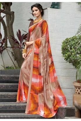 Multi Color Crepe Silk Saree