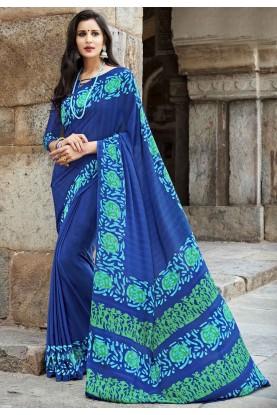 Blue Crepe Silk Csaual Printed Saree