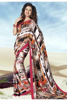 Multi Color Crepe Silk Printed Saree