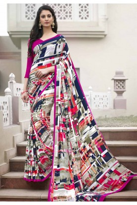 Off White Printed Saree in Crepe Silk