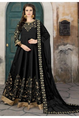 Black Color Silk Fabric Party Wear Salwar Kameez